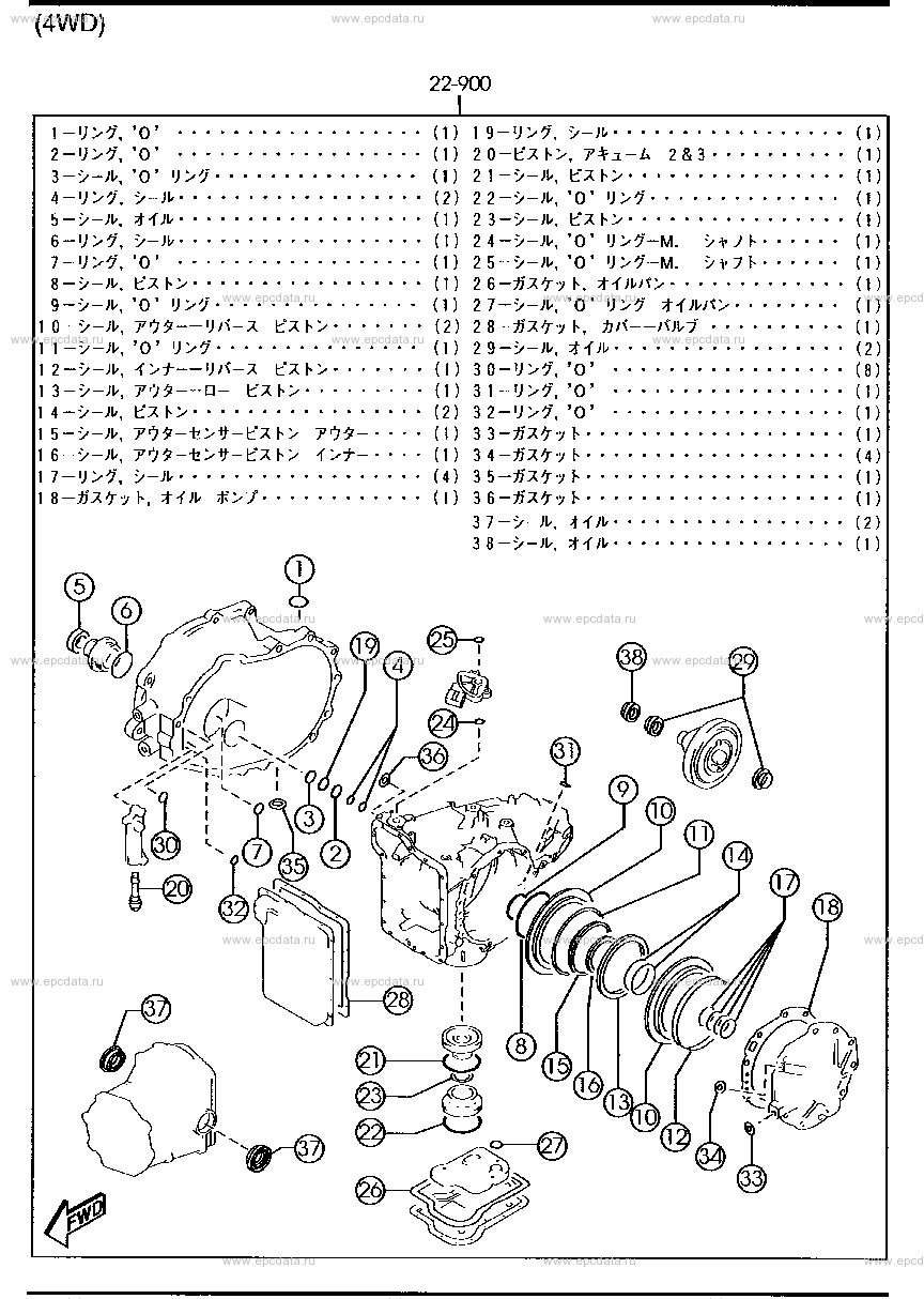 Схема 1960A : automatic transmission gasket & seal kit (4-speed)