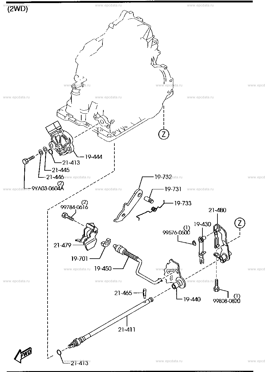 Схема 1950A : automatic transmission manual linkage system (4-speed)