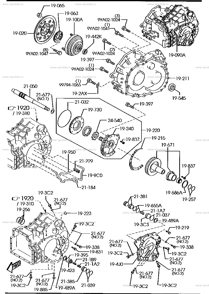 Схема 1910AA : automatic transmission torque converter, oil pump & piping (5-speed)